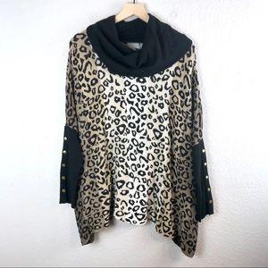 Joseph A Cowl Neck Dolman Sleeve Leopard Sweater